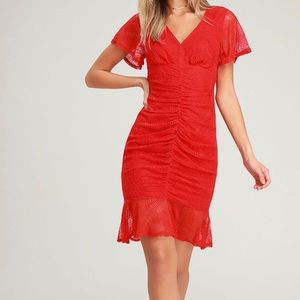 NEW WITH TAGS - Sexy red rouged dress